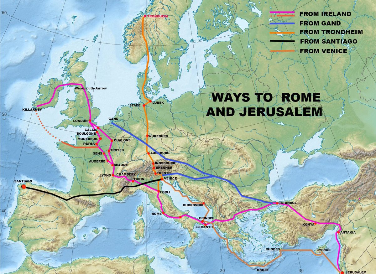 Pilgrimage routes to Jerusalem from Western Europe.   Image: Power of Pilgrimage   #MedievalMonday