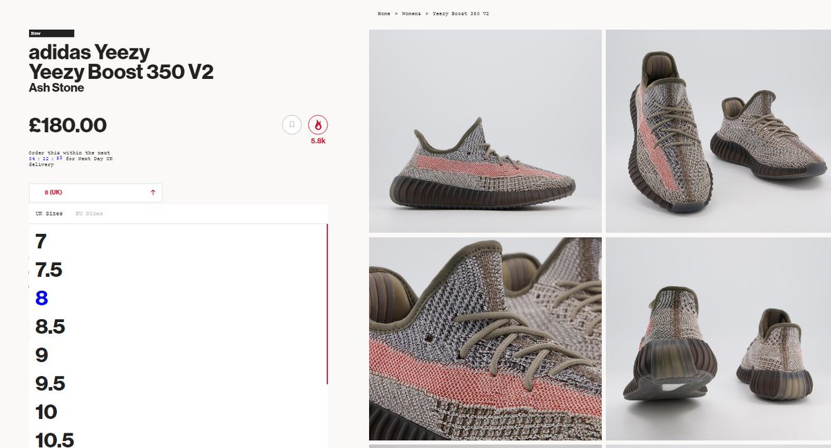 Sizes selling out again: Yeezy 350 V2