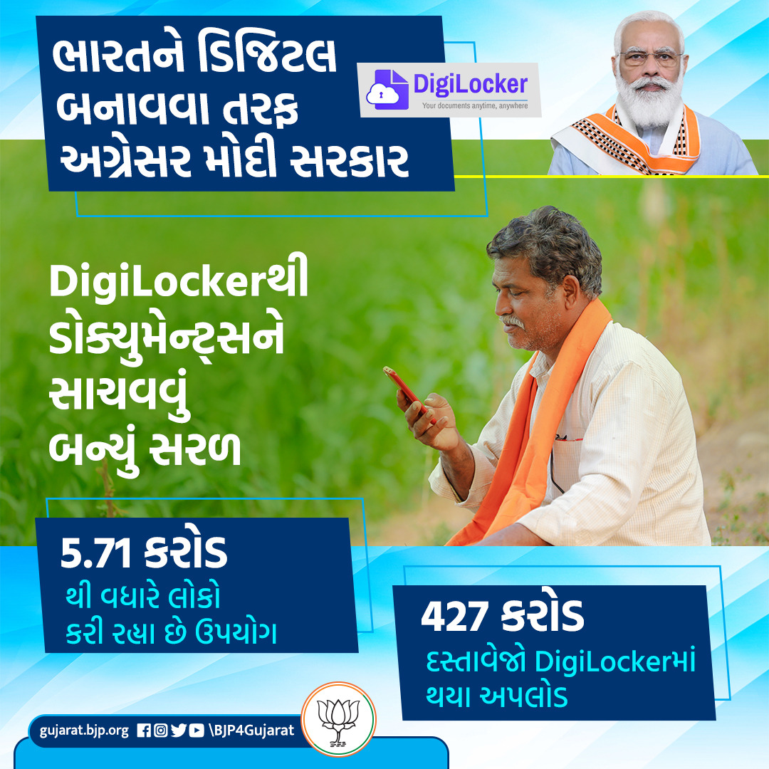 ભારતને ડિજિટલ બનાવવા તરફ અગ્રેસર મોદી સરકાર  🔐 5.71 કરોડથી વધારે લોકો કરી રહ્યા છે DigiLockerનો ઉપયોગ   🔐 427 કરોડ દસ્તાવેજો DigiLockerમાં થયા અપલોડ