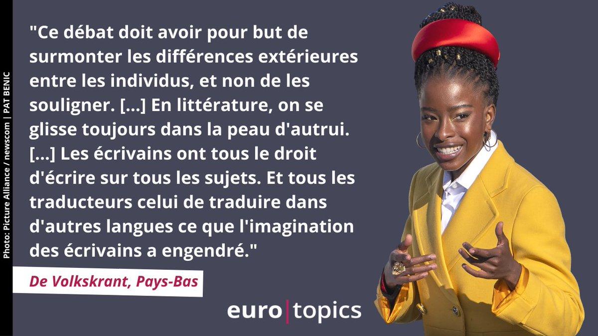 @demorgen 🧑🏾🧑🏻 Un blanc peut-il traduire un #auteur noir ?  Le débat fait rage aux Pays-Bas autour de la traduction du poème d' #AmandaGorman. Pour @wilmaderek, on ne peut mettre en avant l'argument de l'identité et affirmer vouloir combattre les discriminations. 👉