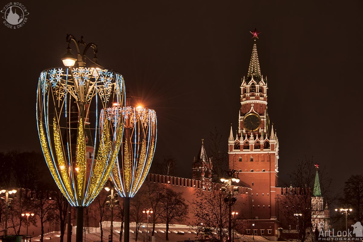 =Glass-Shaped Street Lights and Spasskaya Tower at Night=  Festive New Year Decorations of Moscow    #NewYear #Christmas #WinterHolidays #Illumination #StreetLights #SpasskayaTower #KremlinTowers #Kremlin #Moscow #Russia #Landmarks #Winter #MoscowPhotoTours