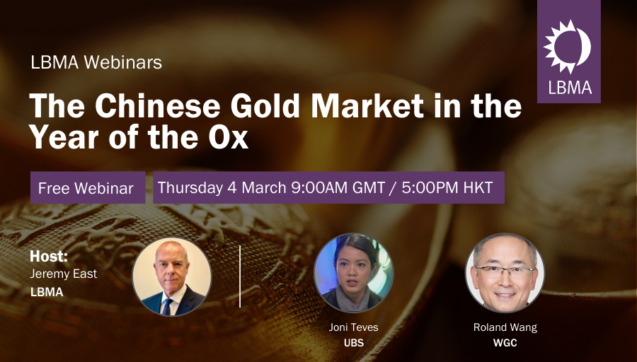 Join us on Thursday, 4 March at 9:00AM GMT / 5:00PM HKT to hear Jeremy East (LBMA) discuss the flows of #gold into China surrounding the #NewYear with Joni Teves, (@UBS) and Roland Wang (@GOLDCOUNCIL).  Register here -   #preciousmetals
