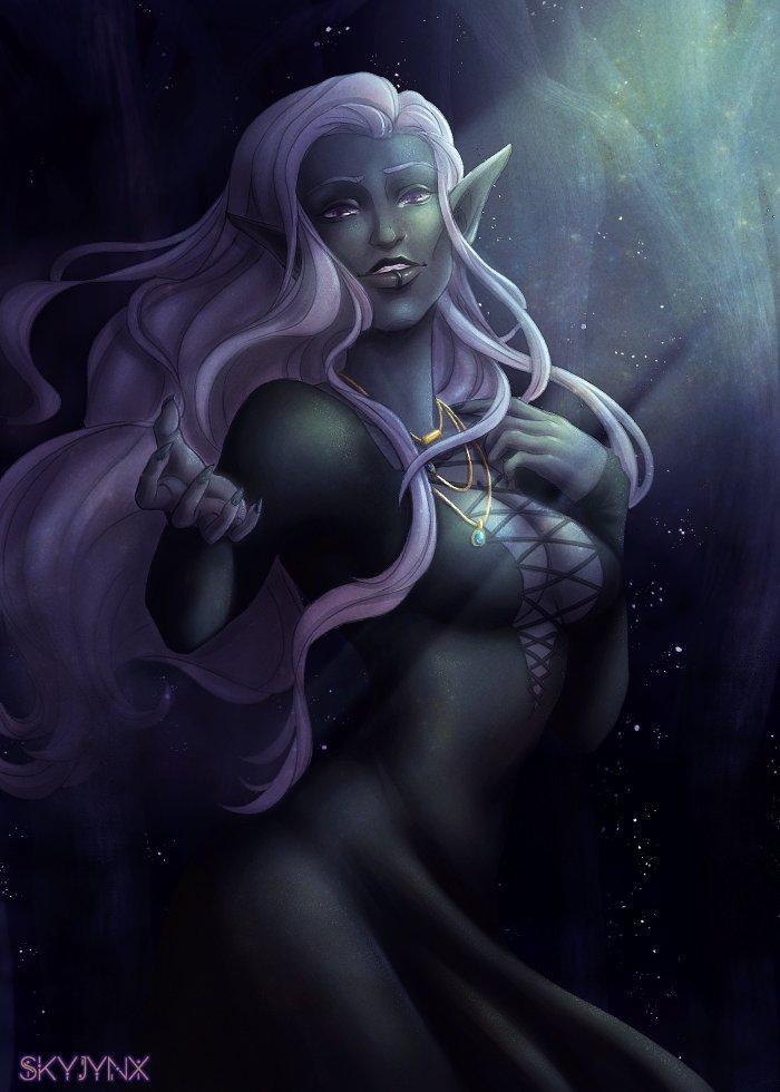 Gorgeous drow girl as part of a trade! 🖤 #drow #digitalart #fantasy #dndartists