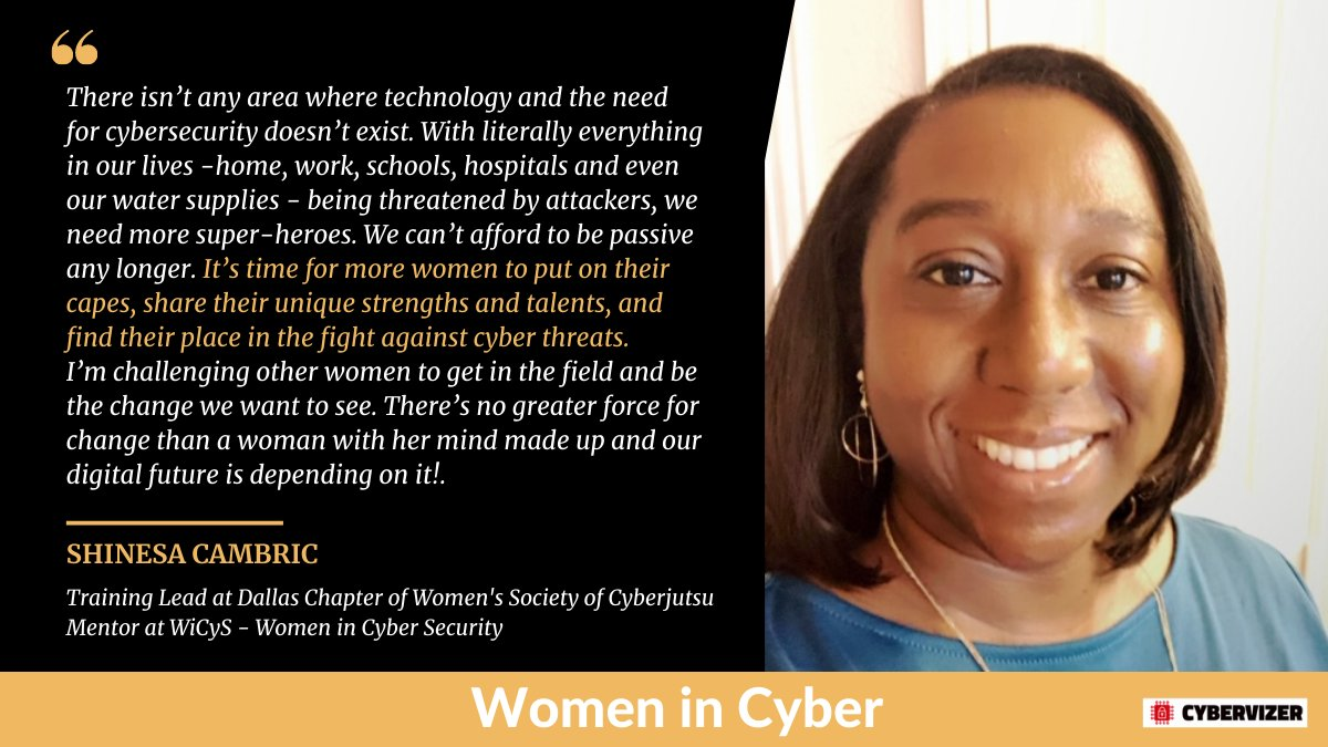 Our next #WomeninCyber is Shinesa Cambric, @Gleauxbalsecur1, an accomplished  #cybersecurity professional we want to recognize. Greater #Diversity 🙌 https://t.co/4zyEua296l  @KarmenINTL @missdkingsbury @Shirastweet @m49D4ch3lly @domyboo @digitalcloudgal @AbigailGennaoui @psb_dc https://t.co/JXxDoRxcLk