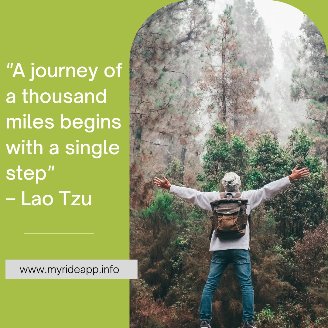 """A journey of a thousand miles begins with a single step"" – Lao Tzu - - - - - #rideshare #rideapp #quotes #lifequotes #qoutes #quoteoftheday #quites #quotesoftheday #quote #motivationalquotes #dailyquote #qoutesaboutlife #quotestagram #liketime #likeme #followforfollowback #vsco"