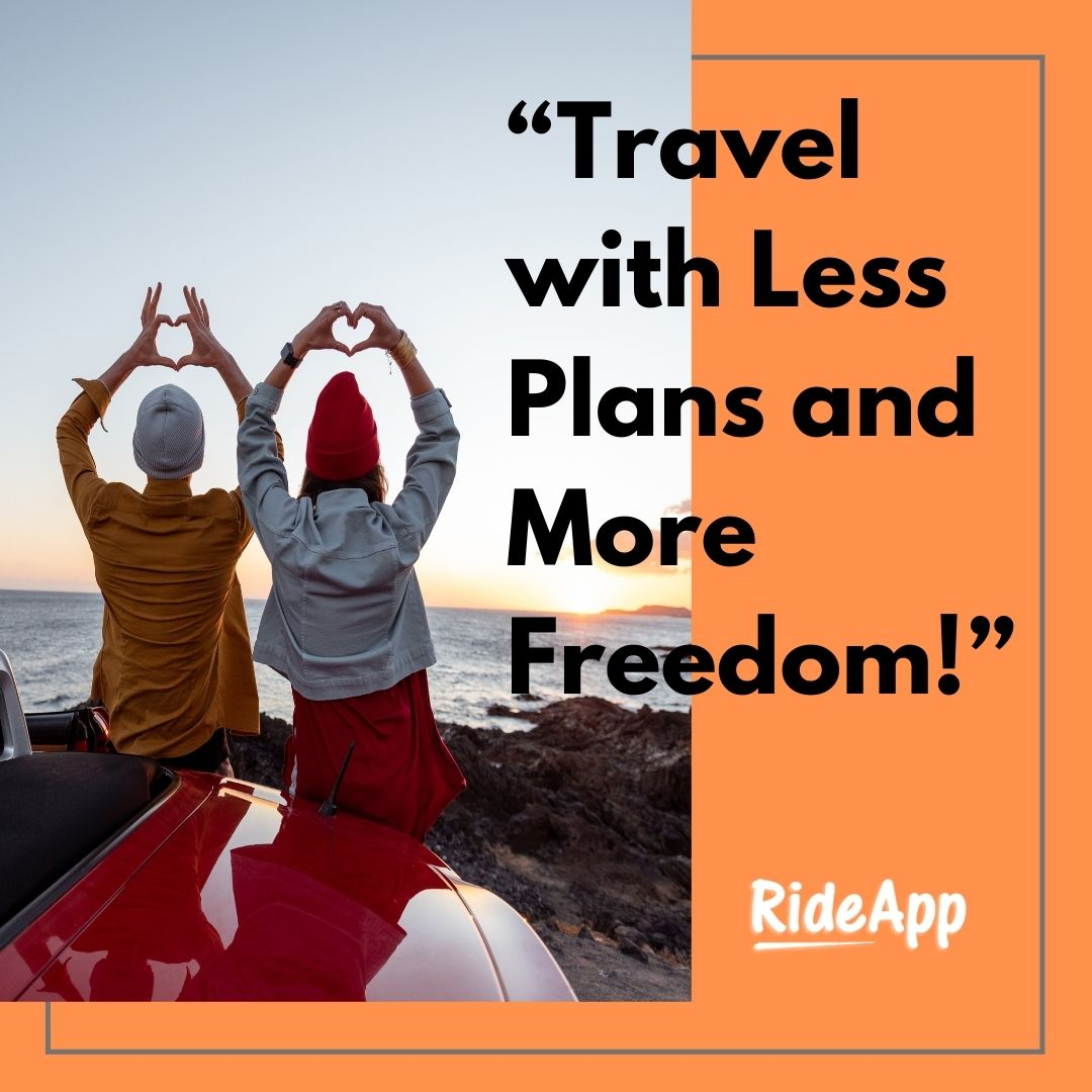 """Travel with Less Plans and More Freedom!"" - - - - - #rideshare #rideapp #quotes #lifequotes #qoutes #quoteoftheday #quites #quotesoftheday #quote #motivationalquotes #dailyquote #qoutesaboutlife #quotestagram #liketime #likeme #followforfollowback #vsco #vscocam #followers"