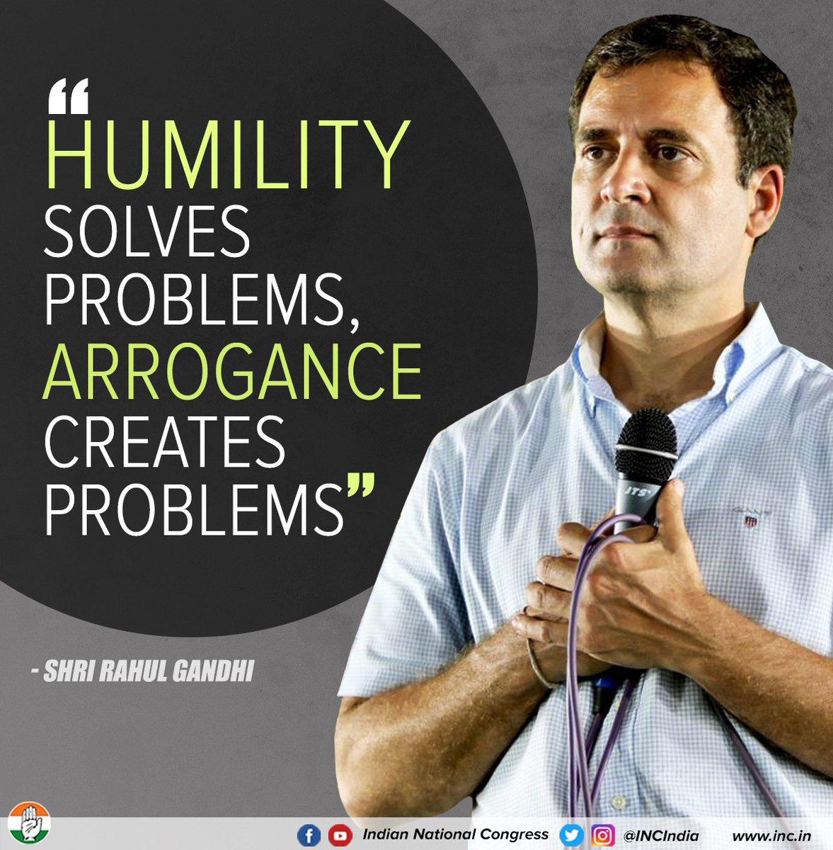 विनम्रता समस्याओं का समाधान करती है, अहंकार समस्याओं का निर्माण : श्री @RahulGandhi  #TNwithRahulGandhi