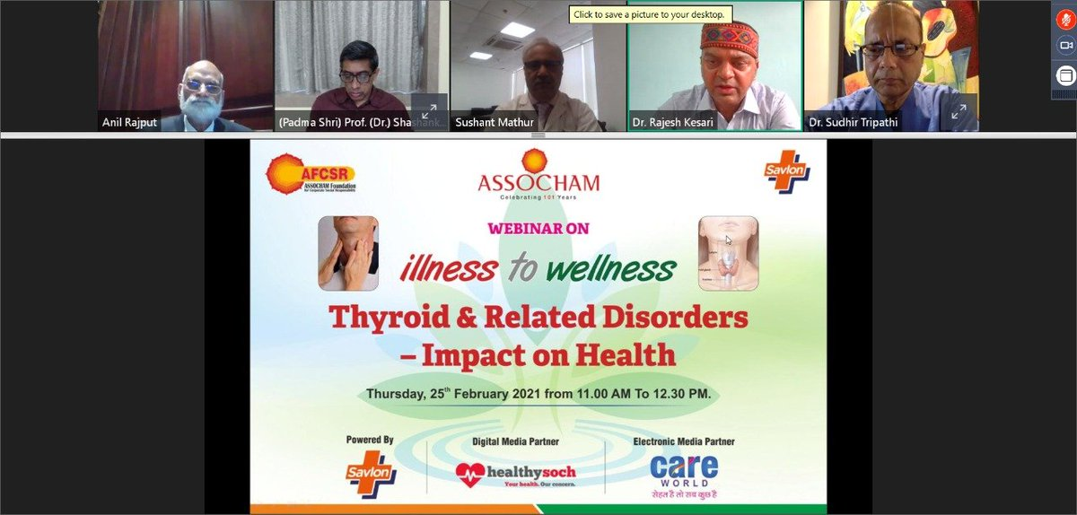 #ASSOCHAM organised another edition of the webinar series on #IllnesstoWellness on Thyroid and Related Disorders–Impact on Health to cascade mass awareness and disseminate knowledge & wisdom for prevention and treatment of thyroid.