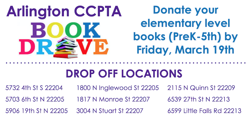 Arlington CCPTA is hosting a book drive. Please drop off your PreK-5th Grade books for Arlington students by Friday, March 19th! <a target='_blank' href='https://t.co/Oh2hgGfVE8' rel=