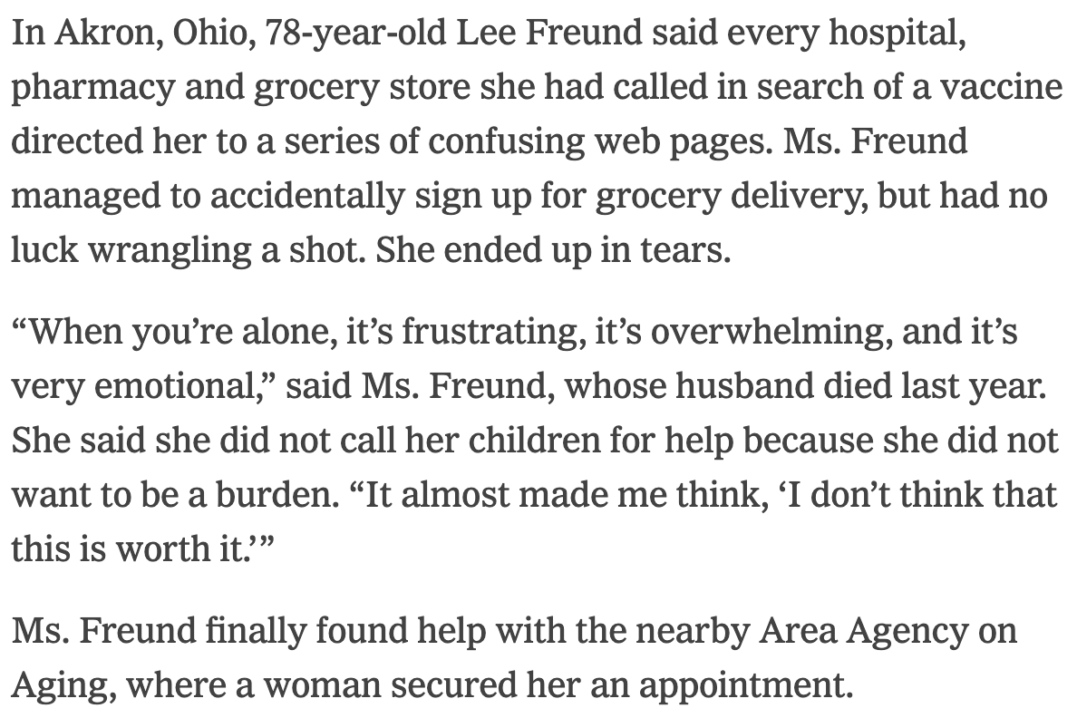 A perfect encapsulation of a system gone wrong from @Kellen_Browning: A 78-year-old woman trying to land a vaccine appointment accidentally signs up for grocery delivery. nytimes.com/2021/02/28/tec…