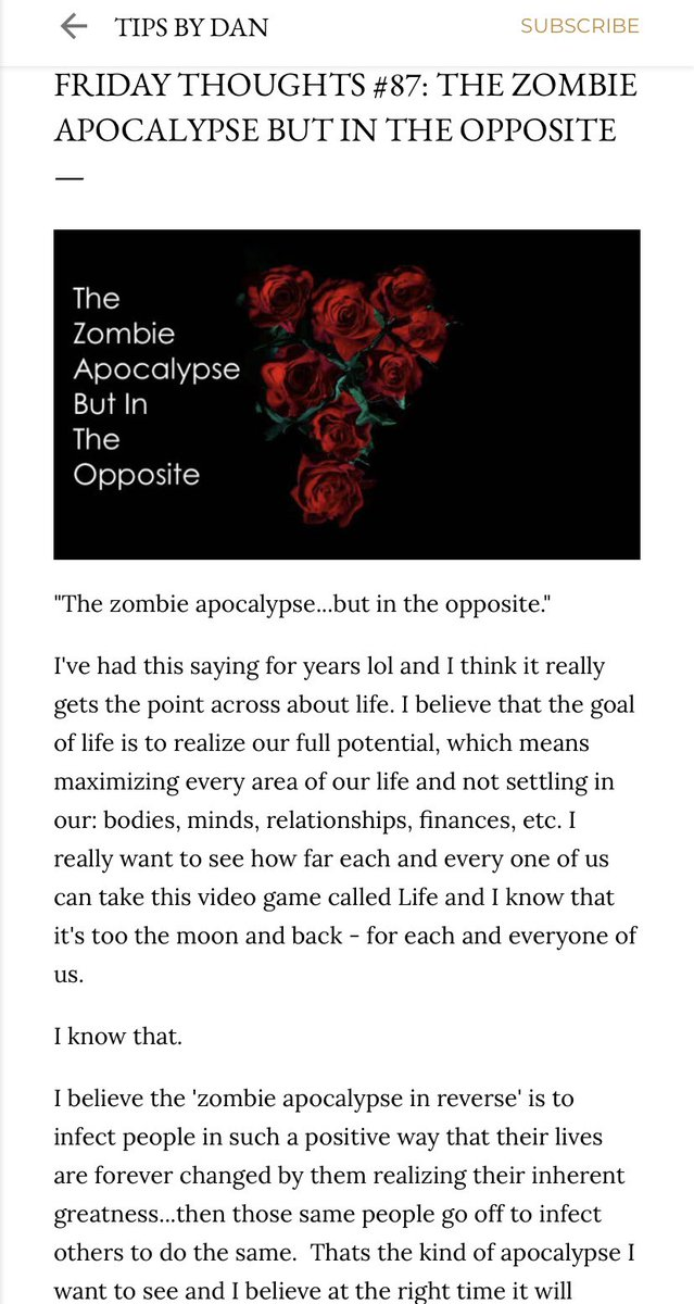 "87th #FridayThoughts blog post is now up! To read the full post click here:  ""The Zombie Apocalypse But In The Opposite"""