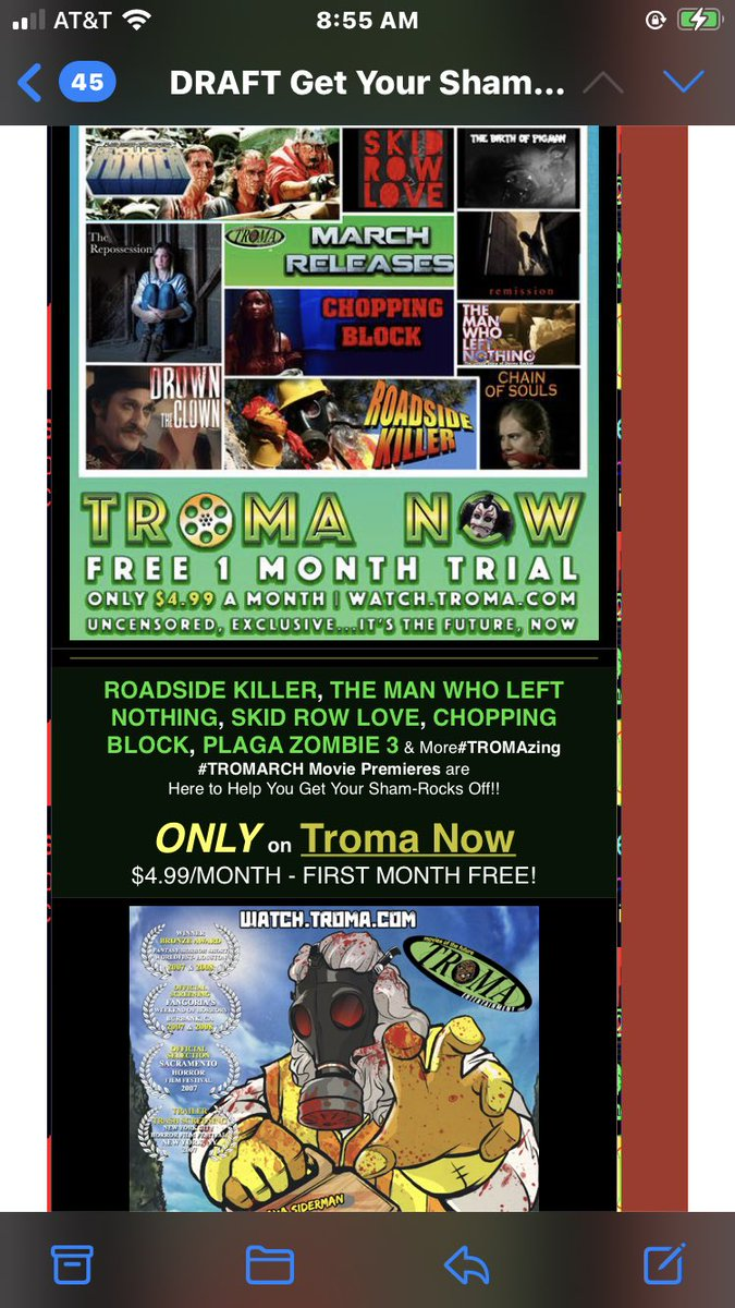 Those loony Leprechauns at TROMA Now has made MARCH your Lucky Month!! Enjoy a pot of golden movies!! @ThomDeMicco @JohnnyTroma @mercedesthemuse @kwzombi