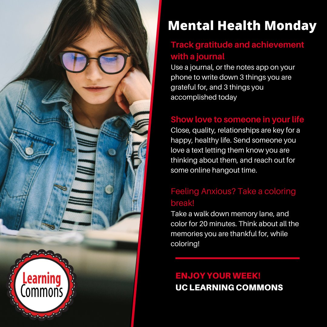 Happy #MentalHeathMonday! Here are some tips to help you stay as mentally fit as possible!   Check out our Success Skills workshops for more free resources on getting through college successfully:    #UniverstiyofCincinnati #Cincinnati #MentalHealth #Monday