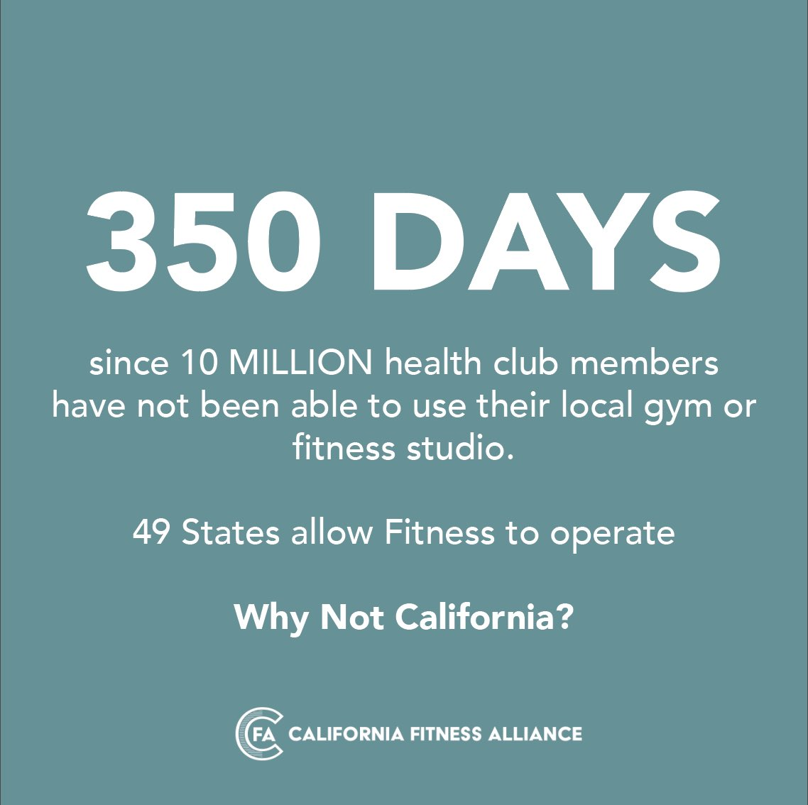 It has been 350 days since Californians, could consistently exercise indoors. We need @CAGovernor, @gavinneesom, @repmikegarcia and @scottwilkca to help reopen fitness  Let us get back to work  #CAleg #SaveFitness #MentalHealth #LetUsExercise #FitnessIsEssential #OpenFitnessNow