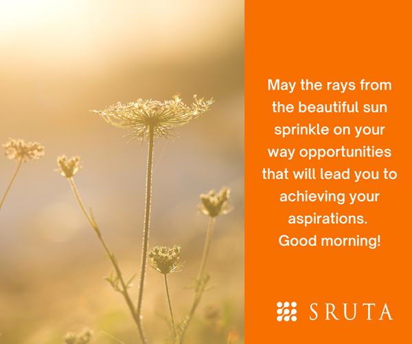 May the rays from the beautiful sun sprinkle on your way opportunities that will lead you to achieving your aspirations. Good morning! #goodmorning #opportunities #srutatechnologies