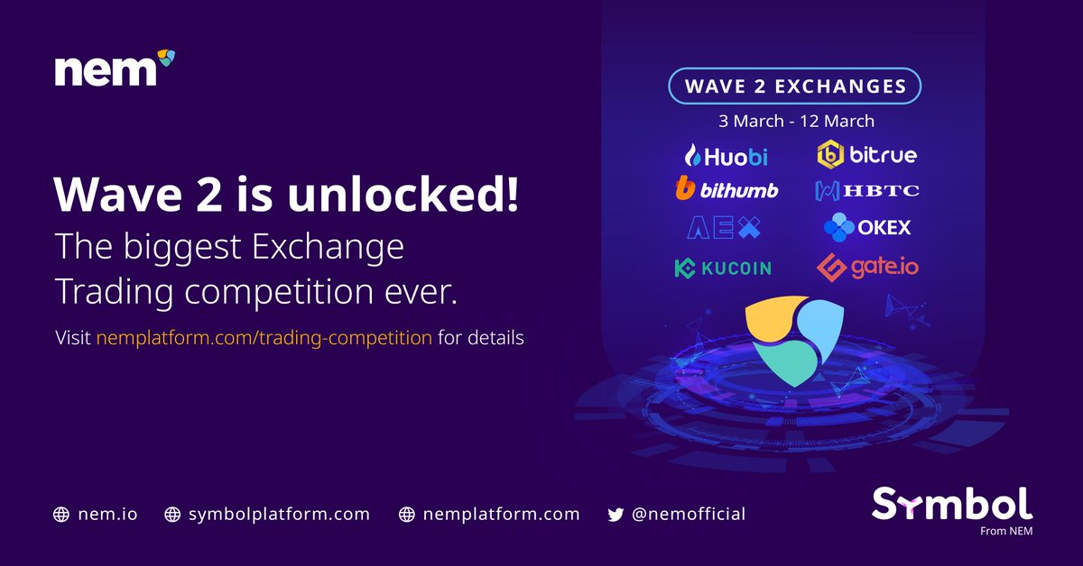 Symbol is coming on 15 March. To celebrate, we continue the biggest ever crypto Exchange Trading competition with more exchanges on board for Wave 2. With a $500k prize fund, don't miss out!  🎉  👉https://nemplatform.com/trading-competition/   #NEM $XEM $XYM #trading #competition