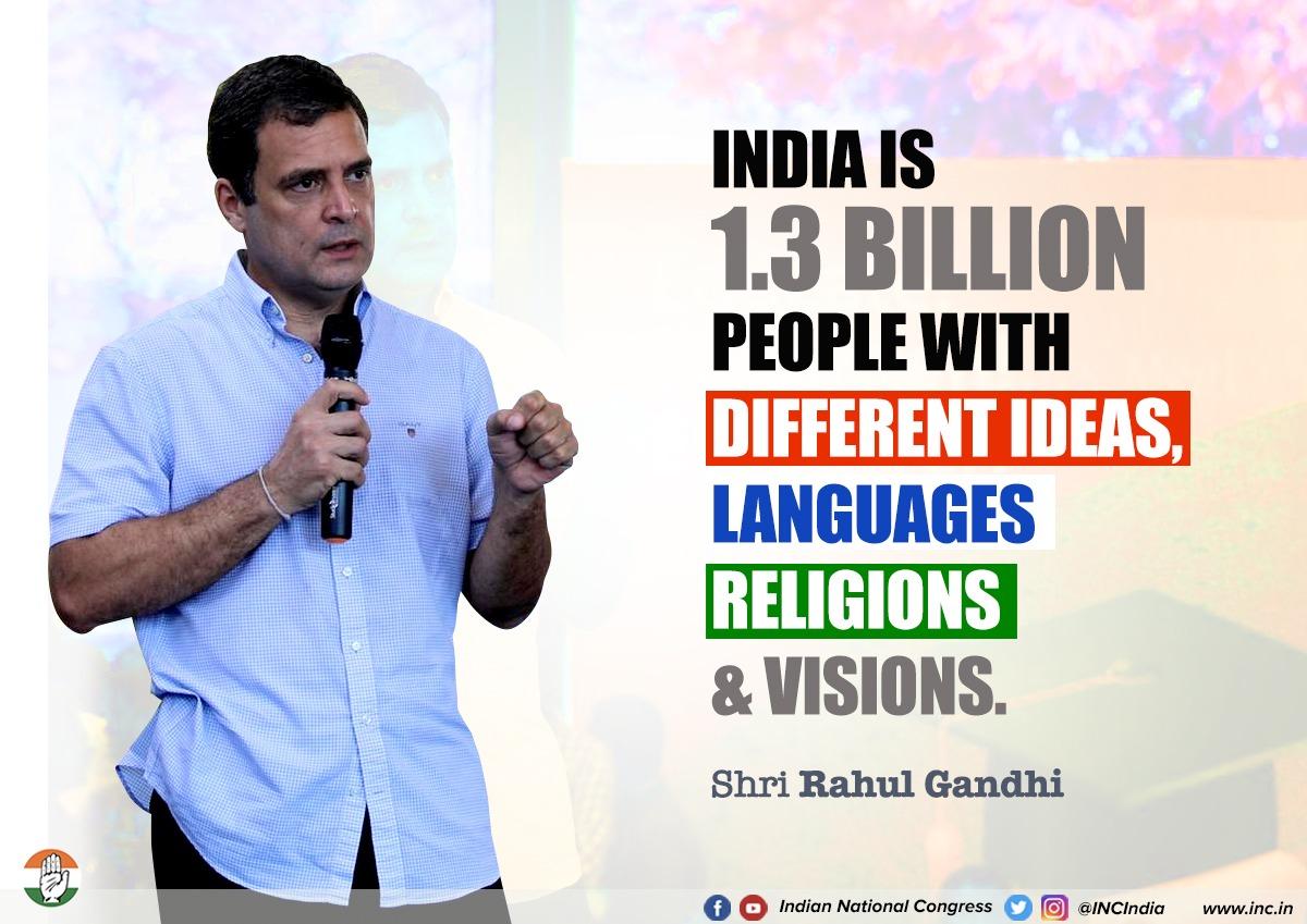 भारत विभिन्न विचारों, भाषाओं, धर्मों और दूरदर्शिता के साथ 130 करोड़ लोगों वाला देश है : श्री @RahulGandhi #TNwithRahulGandhi