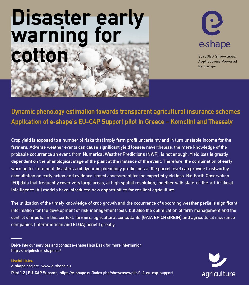 Read our latest success story about Disaster early warning for cotton. Big EO data that frequently cover very large areas together with state-of-the-art AI models have introduced new opportunities for resilient agriculture e-shape.eu/index.php/show…