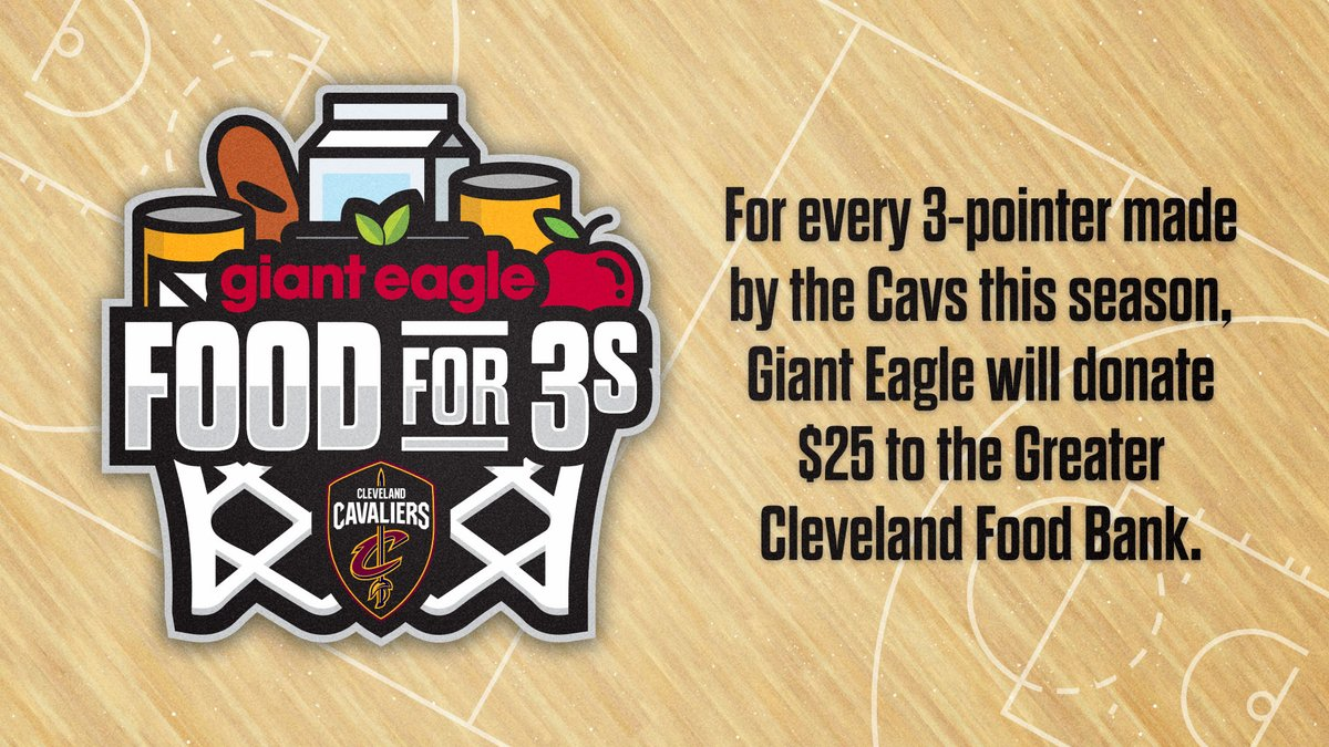 This season we've teamed up with @GiantEagle to help fight hunger in Northeast Ohio!  With 320 threes to date, we're up to $8,000 donated to @CleFoodBank!  DETAILS: https://t.co/HRI6hJmBr7 https://t.co/NAWU2s2enY