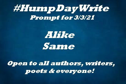 #HumpDayWrite #writingprompt #prompt for 3/3/21  ALIKE SAME  Open to all #writers, #authors, #poets & everyone! #WritingCommunity #poetrycommunity