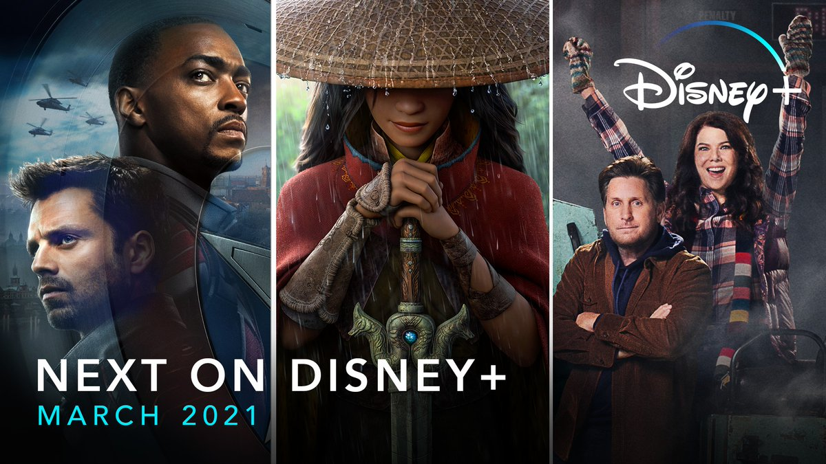 March is flying high! Coming up this month: Marvel Studios' #TheFalconAndTheWinterSoldier, the finale of #WandaVision, The Mighty Ducks: Game Changers, #DisneyRaya with Premier Access, and even more on #DisneyPlus.