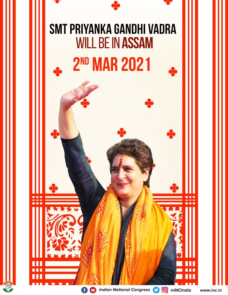 Congress General Secretary Smt. @priyankagandhi will continue her tour of Assam tomorrow. Stay tuned to our social media platforms to watch her live:  FB:   YT:   Insta: