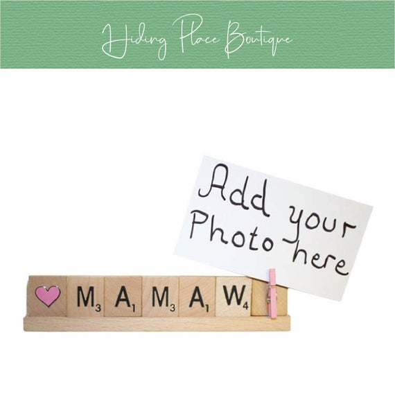 Love Mamaw, Mamaw Gift, Mothers Day, Birthday  #homedcor #gift #scrabble #photo #frame #holder #christmas #grammy