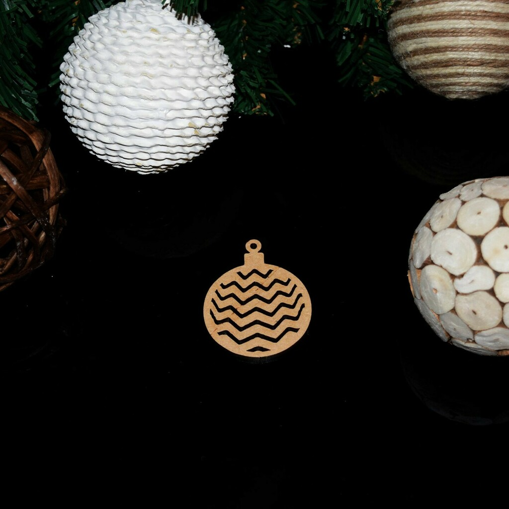 Bauble with Waves Christmas Decoration 3mm MDF #Christmas #Bauble #Decoration