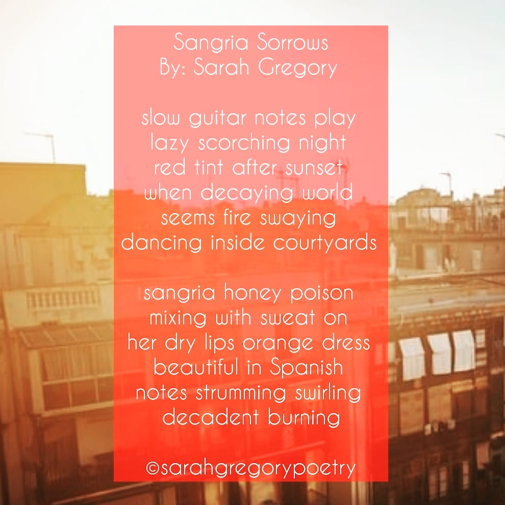 Click for full poem. Sangria Sorrows by Sarah Gregory. Poem about a dream I had. #poetrysociety #poems #poem #poetrywriter #poetrycommunity #poet #poets #poetrylovers #poetry #WritingCommunity #sangria