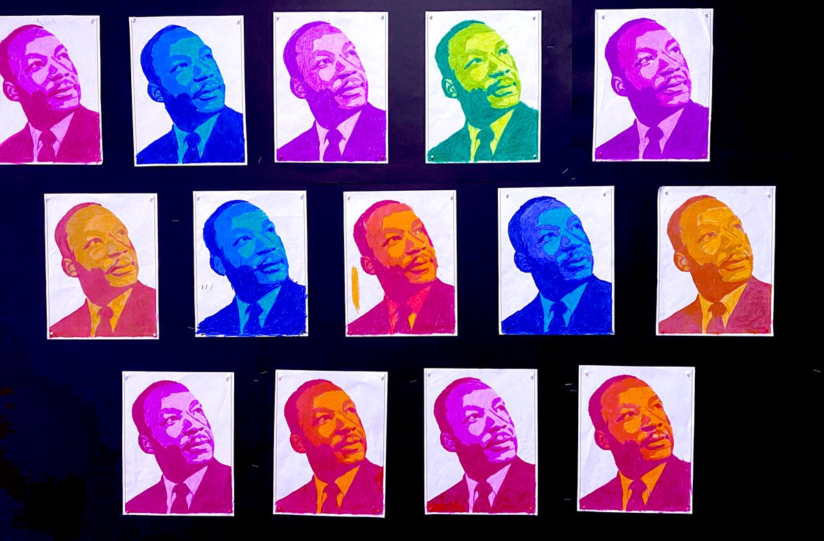 Loving our #MLK portraits from stellar @HTS_Dolphins #4thgrade kid creators! Our learning around black history, equity, & social justice isn't limited to just February, but is part of our daily school culture & community. @TKinneycissna @cwilliamsDMHS @MrsVietro @DMSEF8
