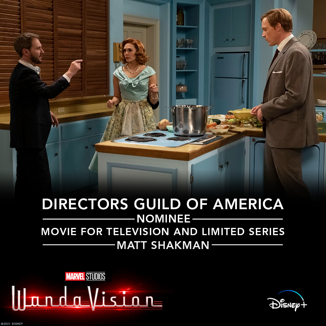 Congratulations to Matt Shakman on his nomination for Outstanding Directorial Achievement in Movies for Television and Limited Series for Marvel Studios' #WandaVision.