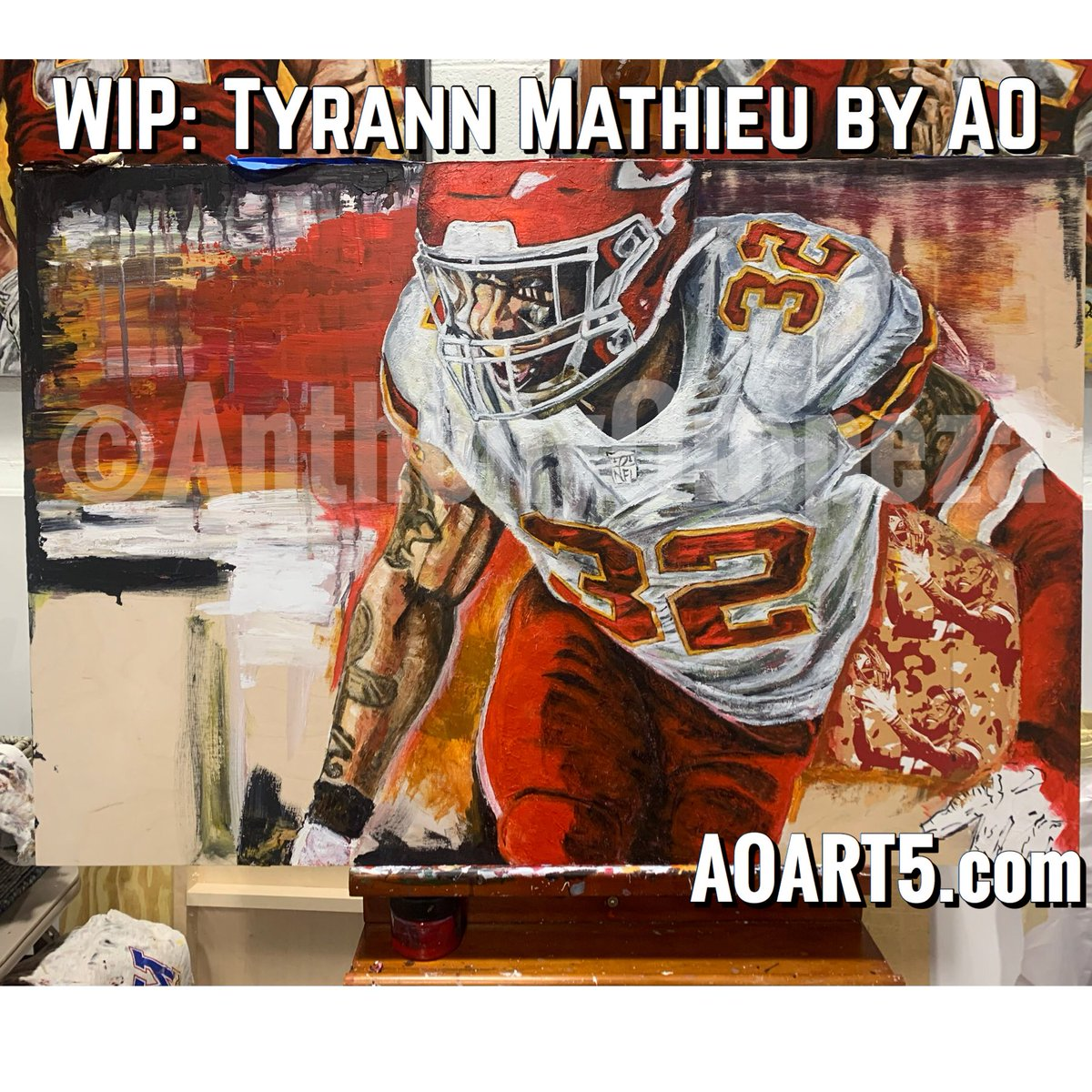 Don't be mad #chiefskingdom , I had a visitor in the AOART5 Studio this weekend from the Tampa Bay Org. and they were eyeballing my Tyrann Mathieu piece.  Then they also wanted to discuss a commission.  Mixed emotions, but business is business.  #ChiefsForever #ChiefsKingdom