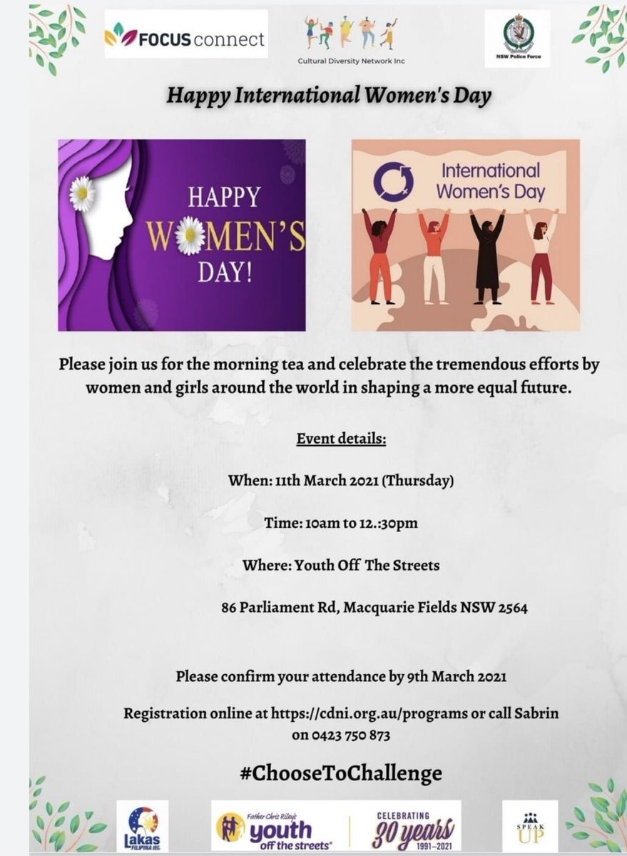 Please join us at Women's Day morning tea on 11th March 2021 in Macquarie Fields.  Registration link:  #IWD2021#womensday2021 #morningtea #ChooseToChallenge