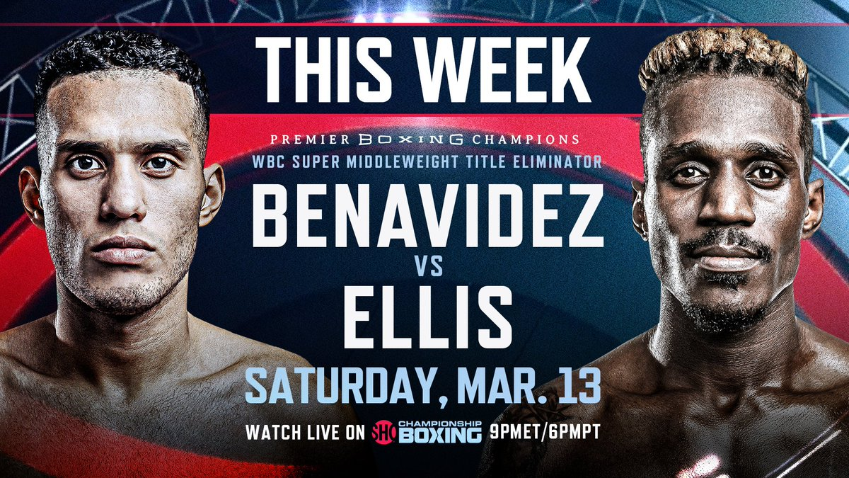 THIS WEEK: Two-Time World Champion @Benavidez300 meets dangerous veteran @RevRon89 in a headlining 12-round WBC Super Middleweight Title Eliminator THIS Saturday, March 13 live on @Showtime at 9pm ET/ 6pm PT. #BenavidezEllis #PBConShowtime  🔗