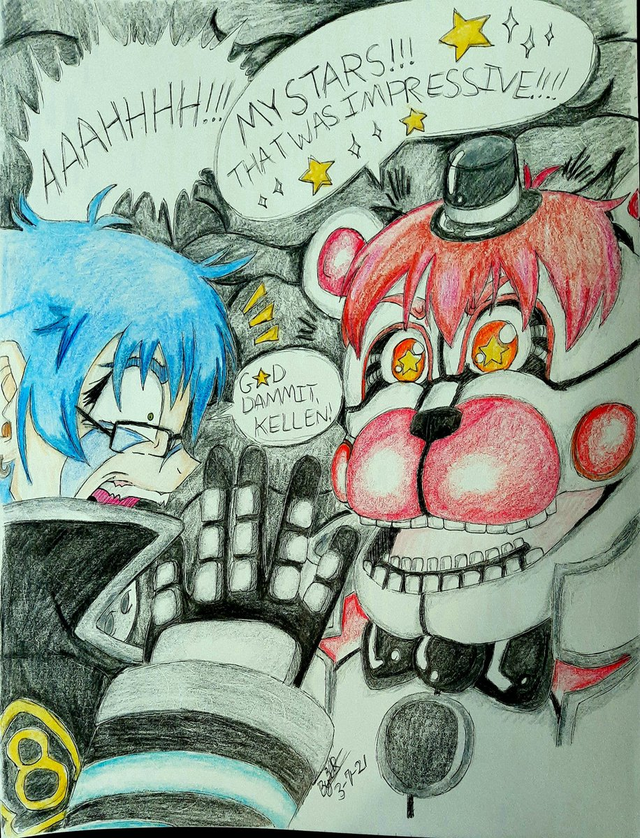 I legitimately got a jumpscare from this episode...  Thanks, @kellengoff. You're a true man of scaring the crap outta kids... and chicks with jumpy personalities!🌟🤣🌟  Art, Azura (C) Me #FuntimeFreddy (C) #FNAF Nataku Son, Rekka Hoshimiya (C) #FireForce  #artwork #FANART #OC