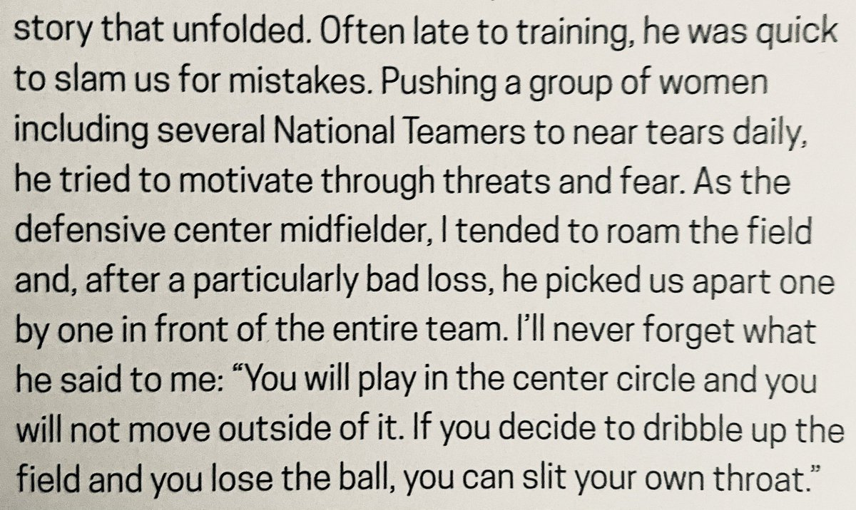 Joanna Lohman has a new book out about raising youth soccer players and we'll have a full review later on @AllForXI but I wanted to point out this insane story she tells on p195 about Tom Durkin when he was head coach of the Boston Breakers. Cw: violence