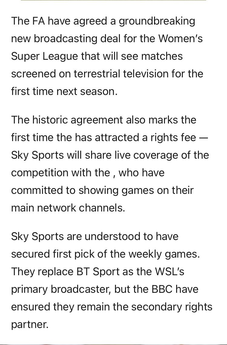 """""""FA agree historic broadcasting deal with BBC to show Women's Super League on terrestrial TV for first time"""""""