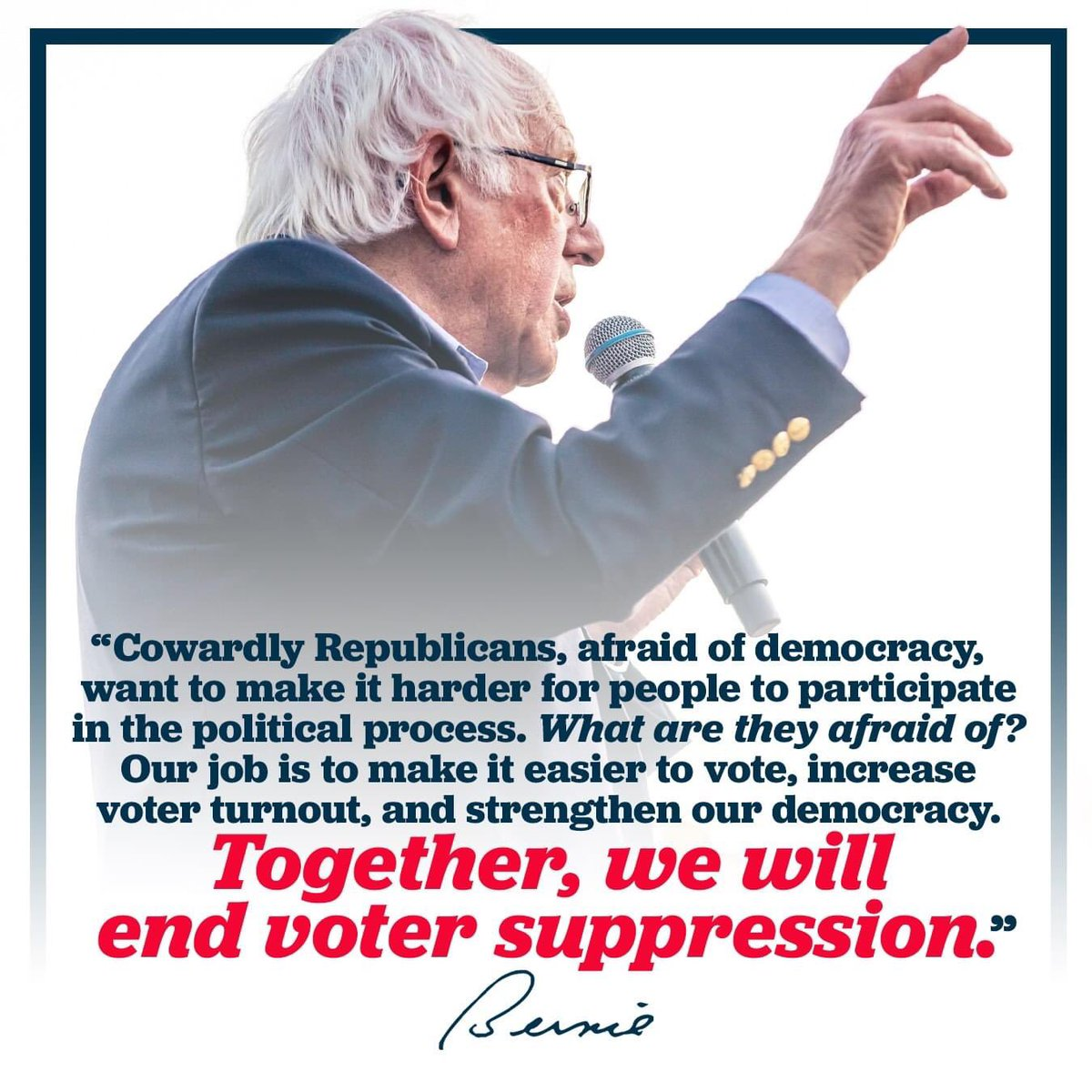 """""""The attempts from Republicans in Georgia – and around the country – to suppress the vote and curtail our electoral democracy should offend the conscience of every American. The fight for voting rights is a fight for justice."""" #BernieSanders"""