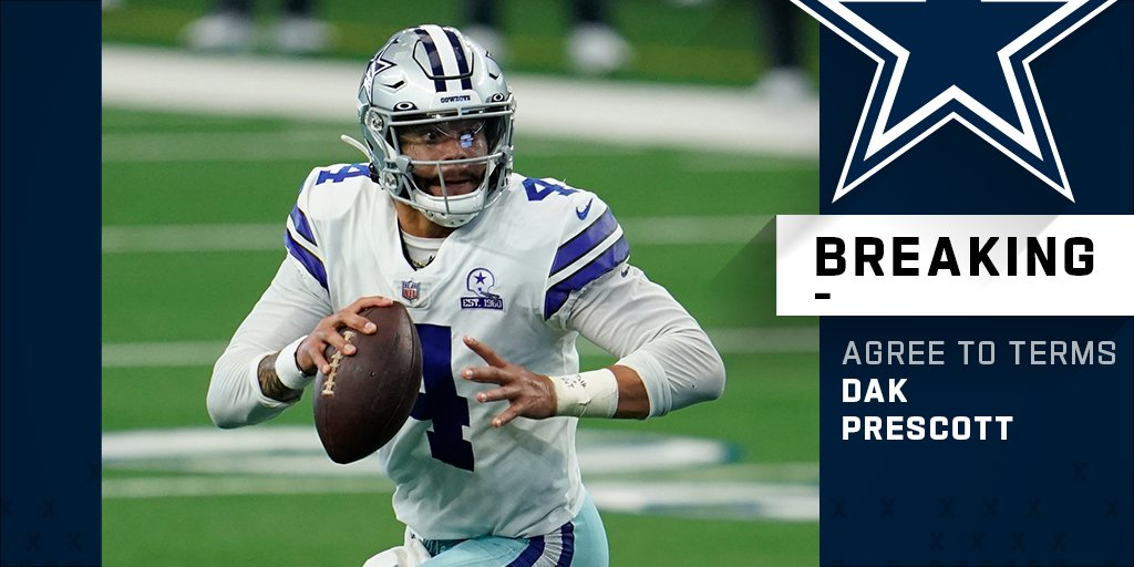 Cowboys agree to terms on new contract with QB Dak Prescott.