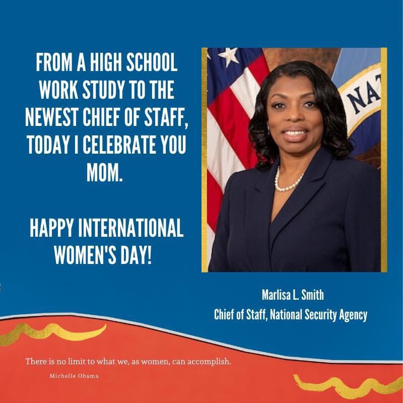 In honor of #InternationalWomensDay I want to shout out my mom who recently got promoted to Chief of Staff of the NSA. Love you Mom ❤️  Graphic Credit: My Sister Marlo.