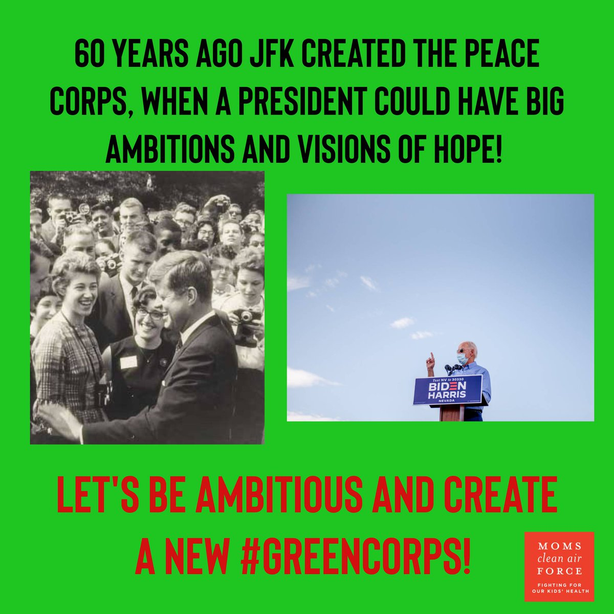 It's time for a #GreenCorps! ❤️ ❤️ Agree? 🤔   #timetoact #ActOnClimate #ClimateEmergency #ClimateCrisis #climateaction #AllOfGovt #ConfirmClimate #rebuildepa