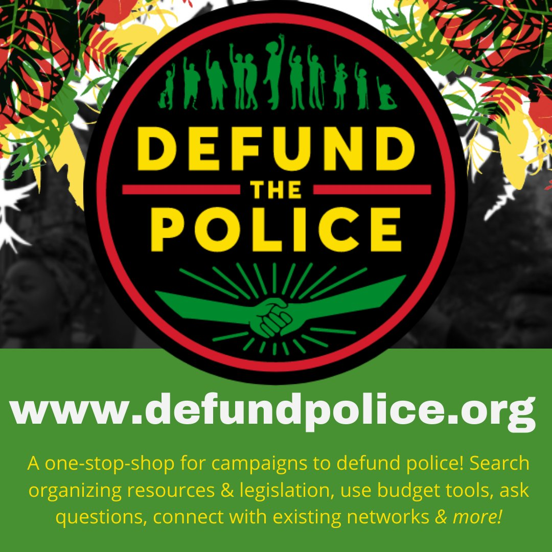 JUST LAUNCHED!  - a 1 stop-shop for campaigns to defund police! Search resources & legislation, ask questions & connect with organizers! Brought to you by @cresourcehub @C_Resistance  @interruptcrim @policylink  @Law4BlackLives @ACREcampaigns #DefundPolice