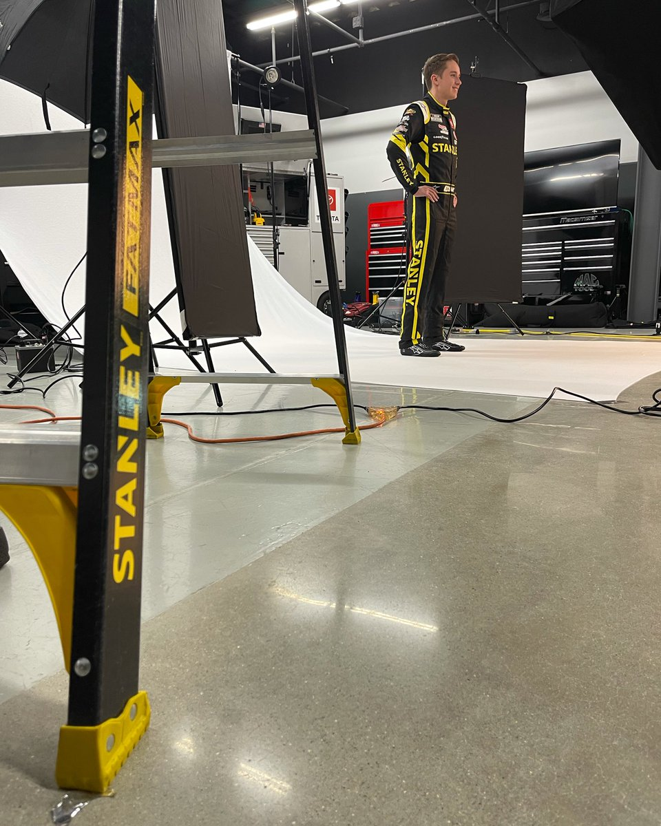 It's @stanleytools photo shoot day with @CBellRacing! Christopher will debut the #STANLEYTools #Camry at @MonsterMile in May.