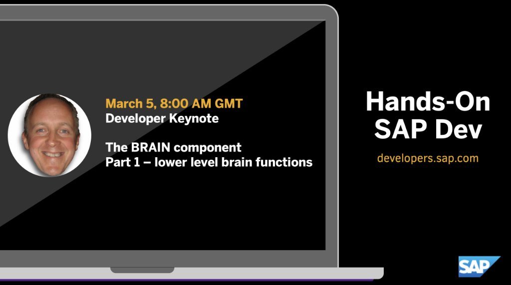 🗓️ Mark your calendar to watch this weeks 'Hands-on SAP Dev' with @qmacro.  Developer Keynote: The BRAIN Component part 1 - SAP Cloud Application Programming Model, SAP Event Mesh, OData & REST service connections, and more.  ➡️  https://t.co/hlHjNSdT8G https://t.co/OWBRCDcl6e