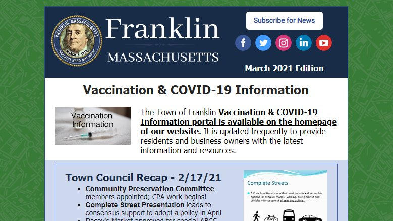 Town of Franklin, MA: Read the March 2021 Newsletter Here!