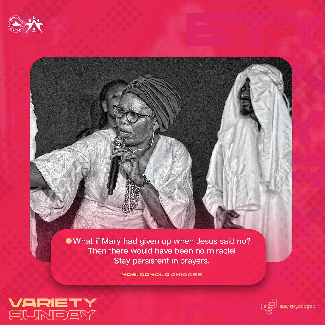 What if Mary had given up when Jesus said no? Then there would have been no Miracle! Stay persistent in prayers.  #sundayservice #varietyservice #excellence #pacesetters #TheInspirationCentre #rccgtic