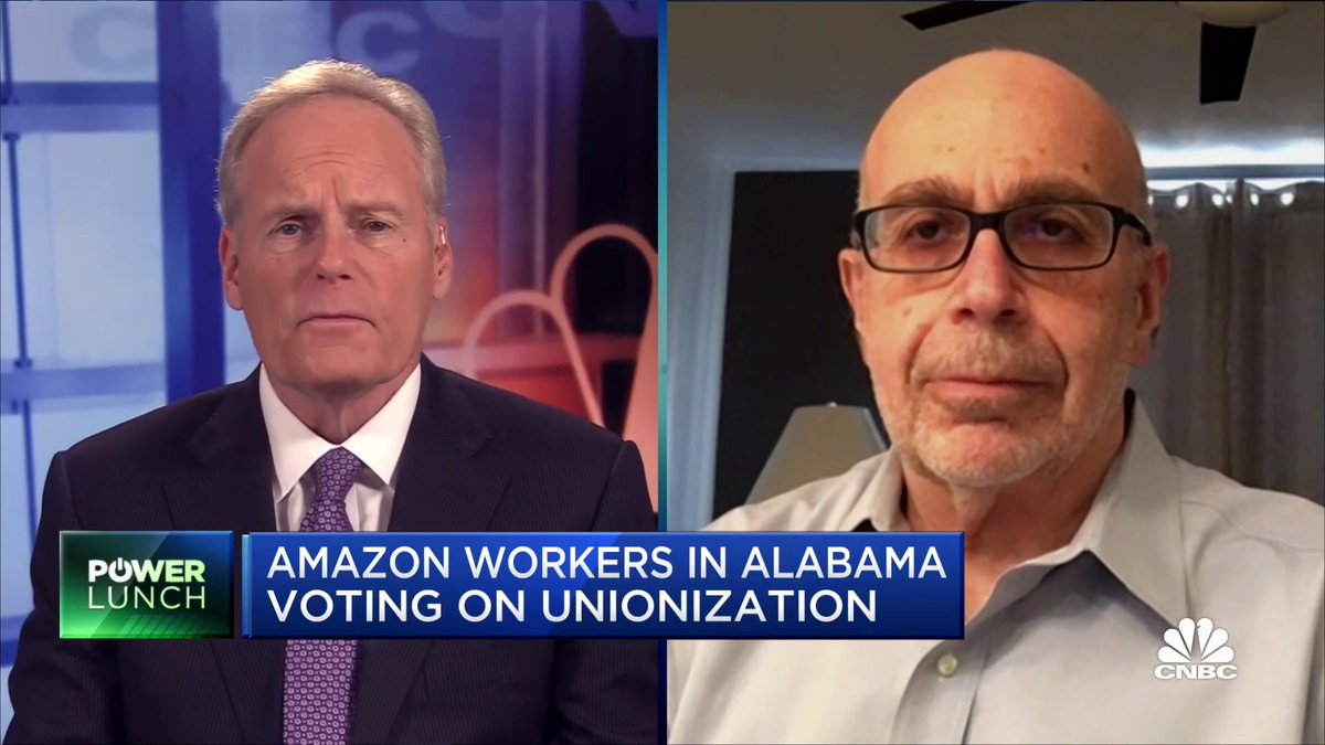 Amazon already pays its employees a $15/hr. minimum wage but some of its employees in Bessemer, Alabama want better working conditions according to @RWDSU President Stuart Appelbaum, who also welcomed Sunday's tweet from President Biden supporting the workers' right to choose.