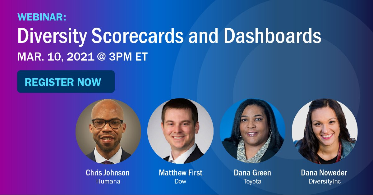 ICYMI: Join #DiversityInc on March 10 for a webinar on #diversity scorecards & dashboards. Gain #BestPractices from leaders at @Humana, @DowNewsroom and @Toyota on how to sustain results in diversity management.  For more information/to register now, visit https://t.co/iU8H5lKEou https://t.co/G9S82vP1dj