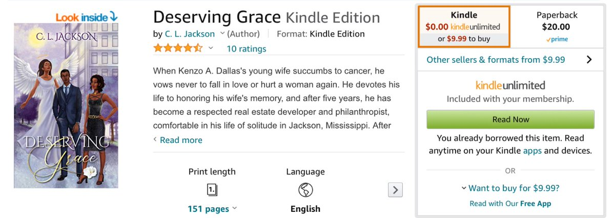 If you are a Kindle Unlimited member you can read my first book Deserving Grace for free!!!! Don't miss this opportunity to read an amazing love story. Book 2 in the series is also out and available to purchase on Amazon and where books are sold.