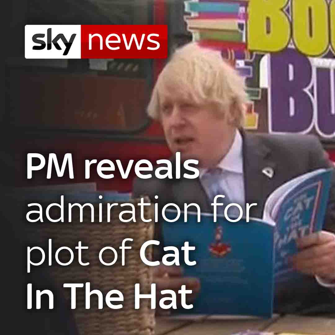 Boris Johnson tells schoolchildren of his love for The Cat In The Hat Comes Back, the sequel to Dr Seuss's original story.  Watch more videos from Sky News: